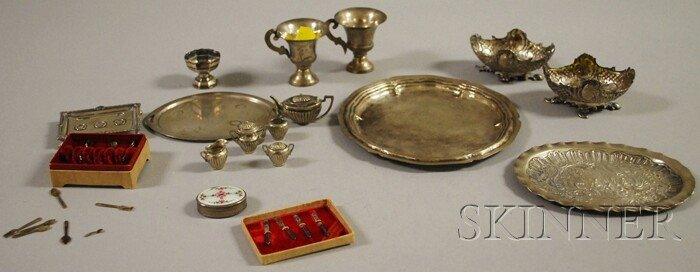 321A: Group of Miniature Silver Tableware, including tw