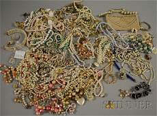 413 Large Group of Faux Pearl Costume Jewelry