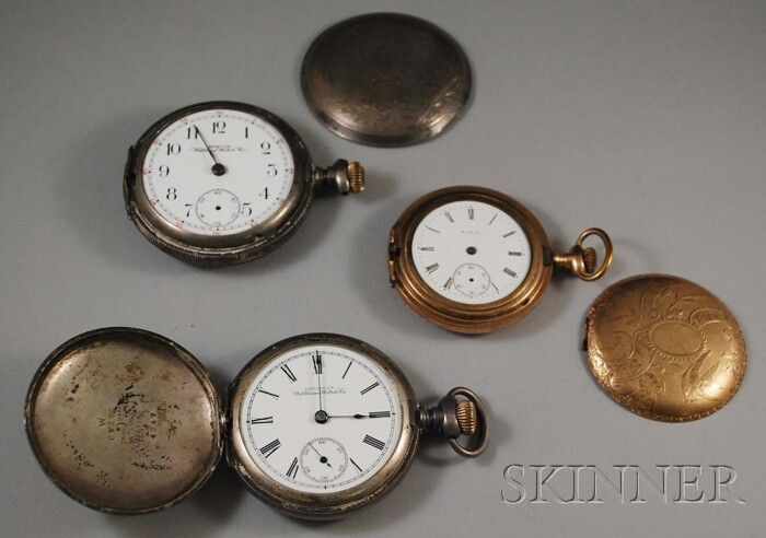 Three Hunting Case Pocket Watches, two coin silve