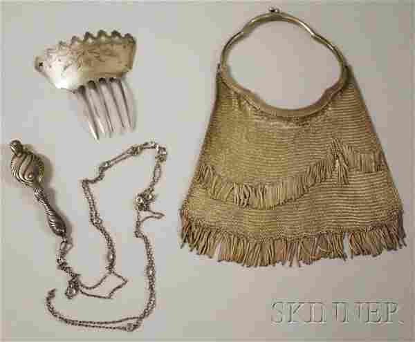 Three Antique Silver Lady's Items, a mesh purse, a