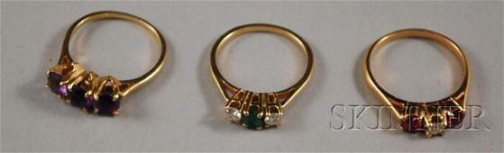 479: Three 14kt Gold Gem-set Rings, one ruby and diamon