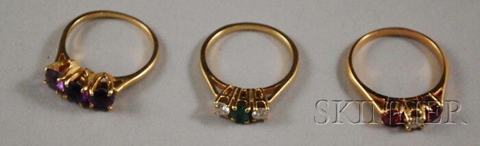 Three 14kt Gold Gem-set Rings, one ruby and diamon