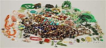 543: Group of Mostly Hardstone and Glass Beaded Jewelry