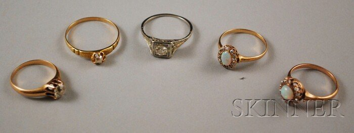 581: Five Gold and Diamond Rings, two 14kt gold, opal,