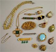 676: Small Group of Mostly Gold and Hardstone Jewelry,