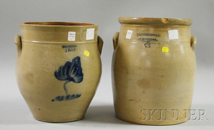 """701: Two Stoneware Crocks, an """"S.S. Perry, Troy"""" ovoid"""