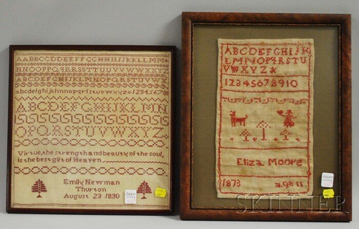 702: Two Framed 19th Century Needlework Samplers, an 18