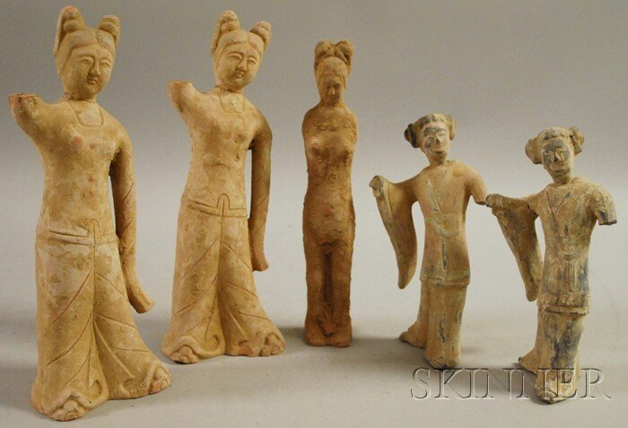 704: Five Chinese Tomb-style Painted Pottery Figures, h