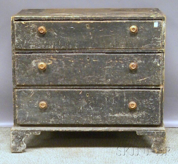 705: Black-painted Pine Three-drawer Chest, (a chest-on