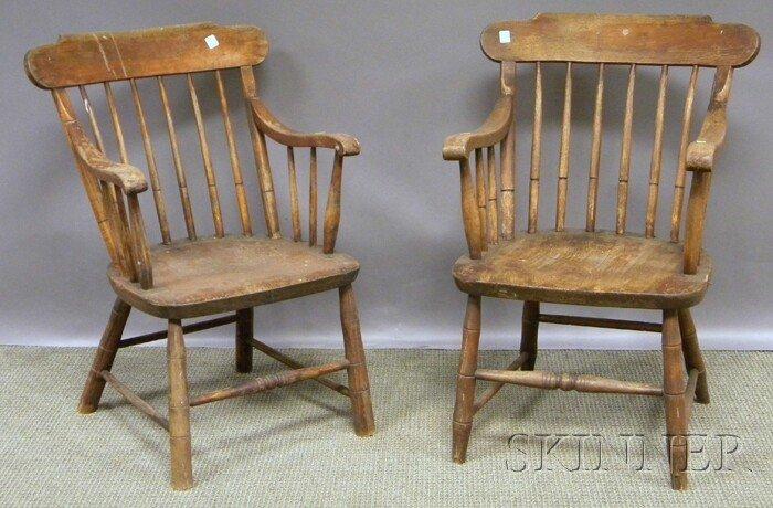 706: Seven J.C. Hubbard Windsor Maple Armchairs, Boston