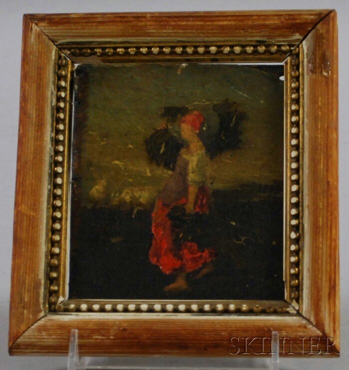 711: Small Continental School Oil on Board Depicting a
