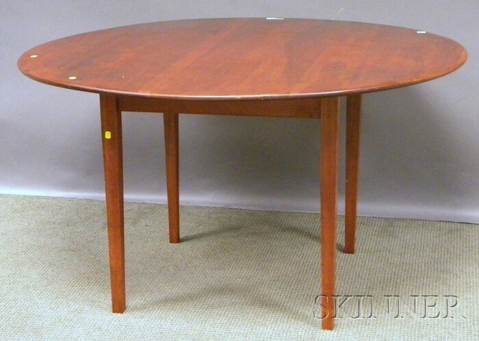 714: Red Stained Circular Cherry Dining Table with Tape