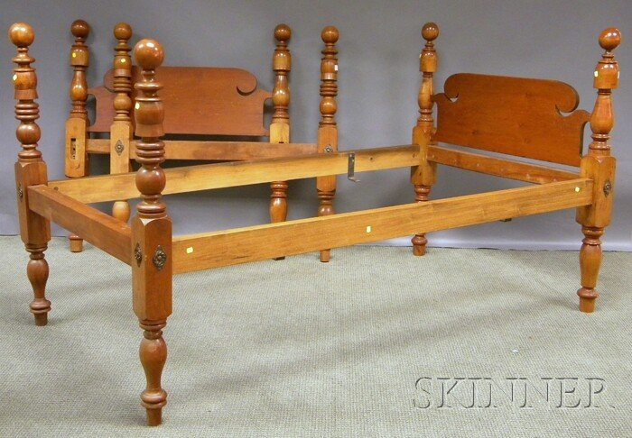 715: Two Ball-top Maple Twin Beds, with rails.