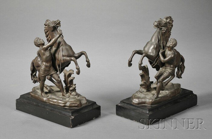 """716: Pair of Bronze """"Marley Horse"""" Groups, each with a"""