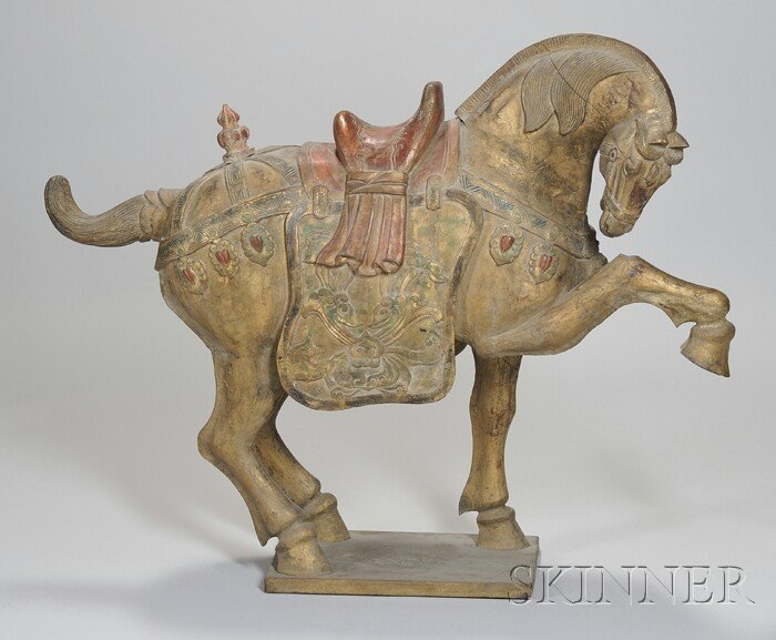 717: Large Asian Carved and Painted Giltwood Tang-style