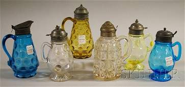 977: Six Victorian Art Glass Syrups, two blue thumbprin