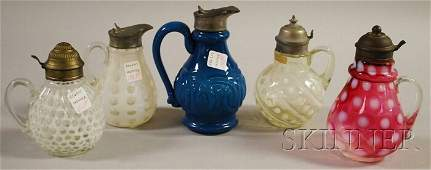 1023: Five Victorian Art Glass Syrups, a colorless opal