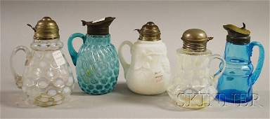 1133: Five Victorian Art Glass Syrups, a white molded g