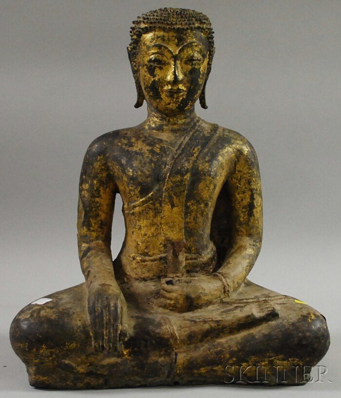 1198: Asian Parcel-gilt Composition-clad Seated Metal S