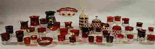 1238: Forty-six Pieces of Late Victorian Mostly Ruby Fl