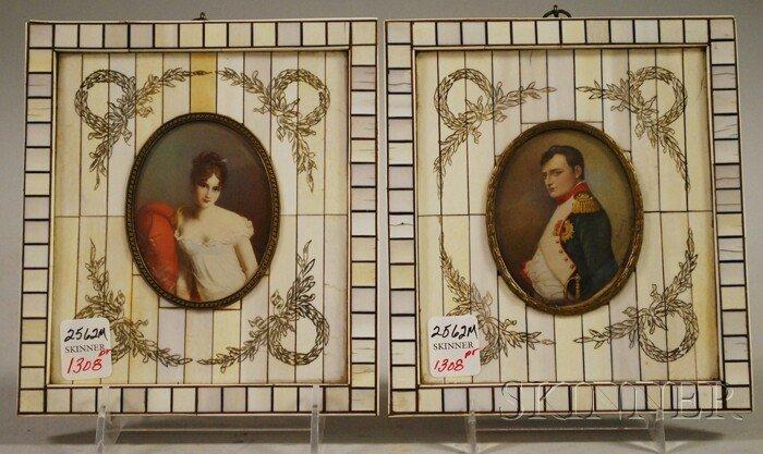1308: Pair of Etched Ivory Veneer Framed Miniature Pain
