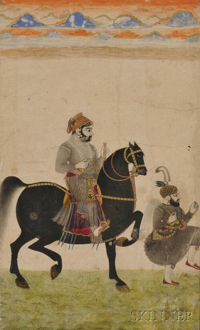 1: Miniature Painting, India, 19th century, scene of a