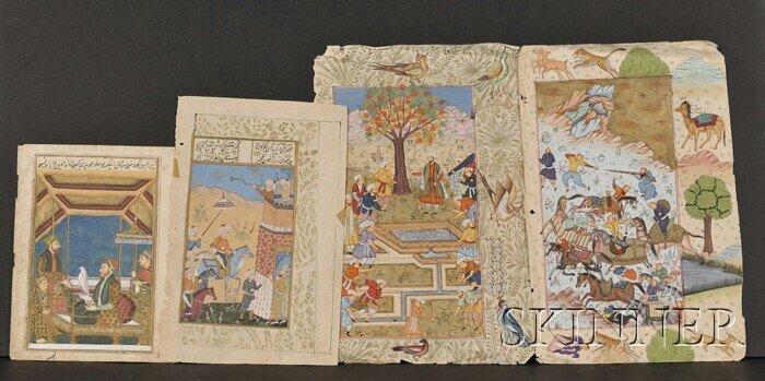 2: Four Miniature Paintings, India, 19th century, scene