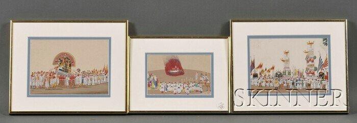 4: Three Paintings, India, 19th century, gouache on mic