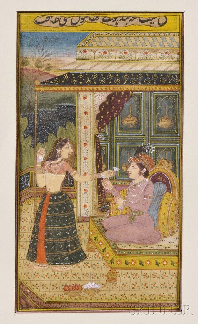 7: Miniature Painting, India, 19th century, scene of a