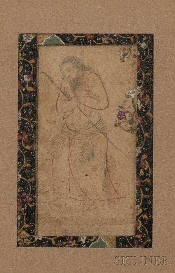 12: Miniature Painting, Persia, 18th century, sketch of