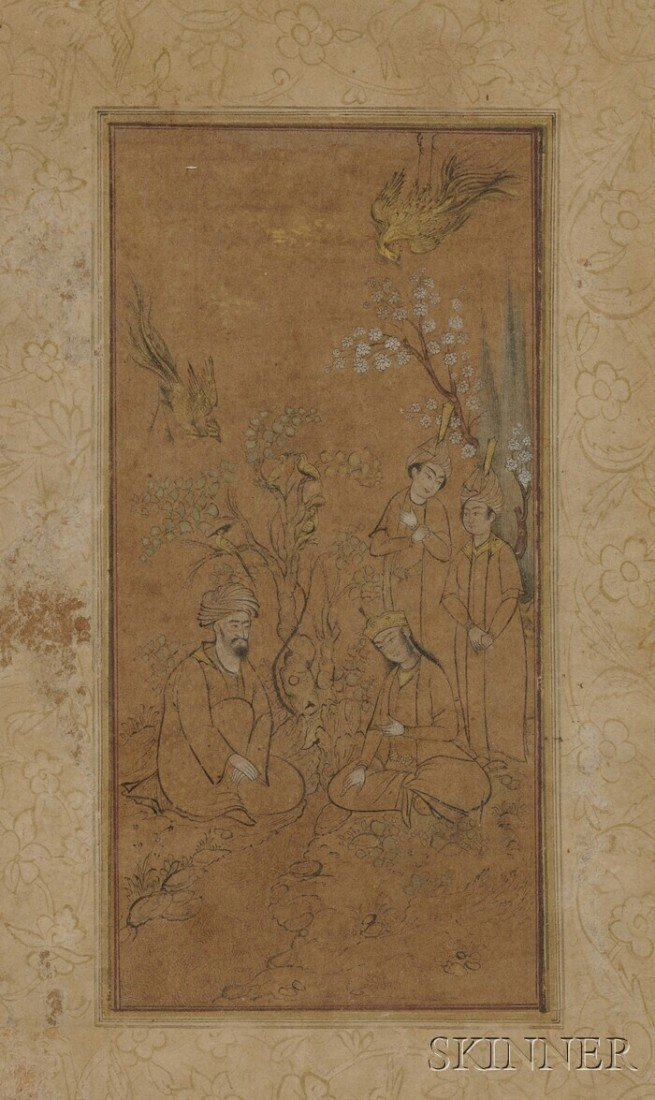 12A: Miniature Painting, Safavid style, ink and gilt on