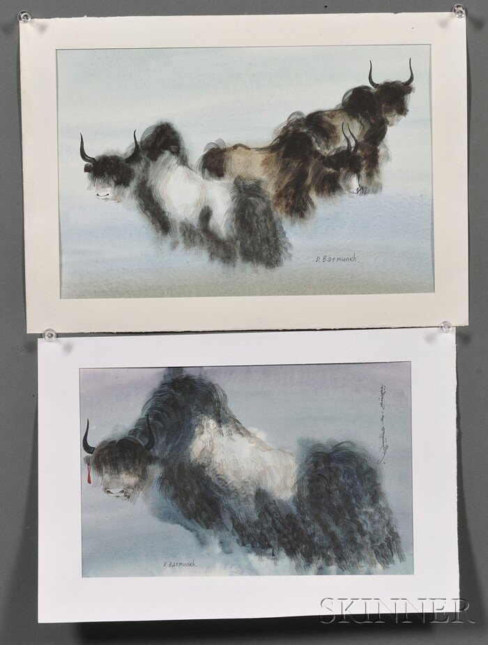 12B: Two Mongolian Watercolors, depicting cows, signed