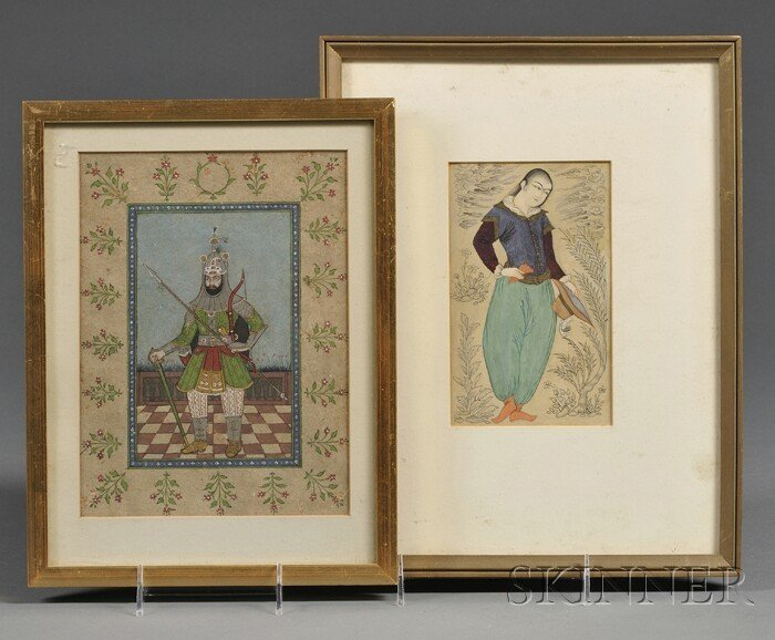 15: Two Miniature Paintings, Persia, 19th century, a Sa