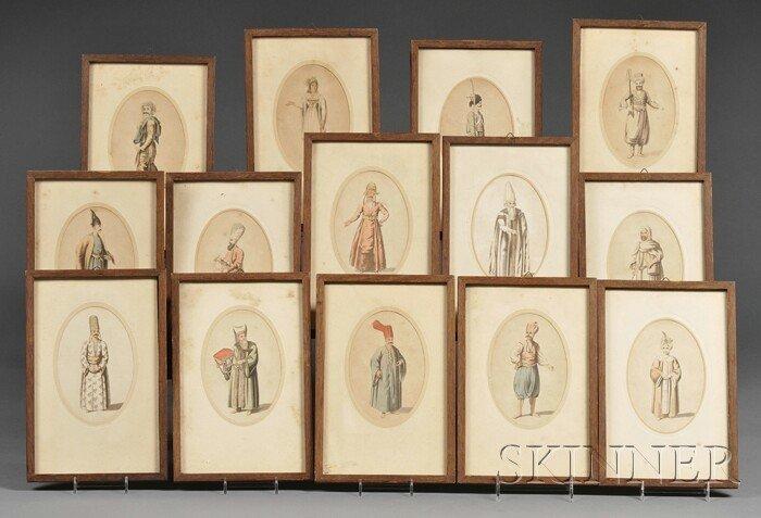 19: Fourteen Ottoman Sketches, 19th century, scenes of