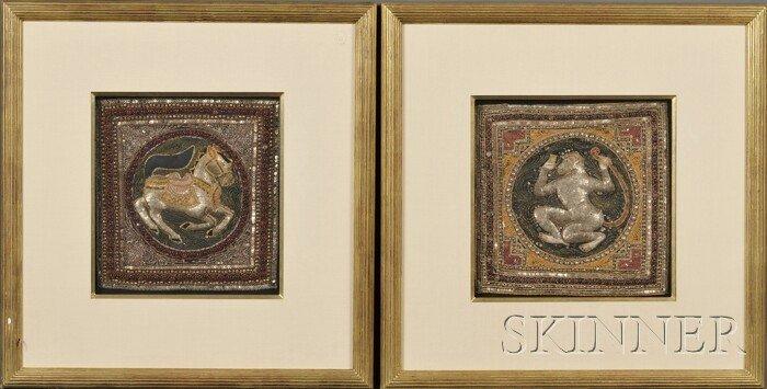 20: Pair of Textile Panels, Burma, 20th century, embroi