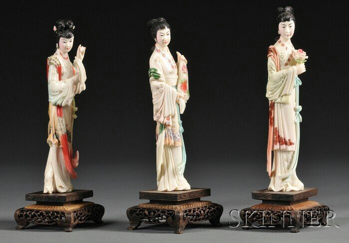 424: Three Painted Ivory Carvings, China, early 20th ce