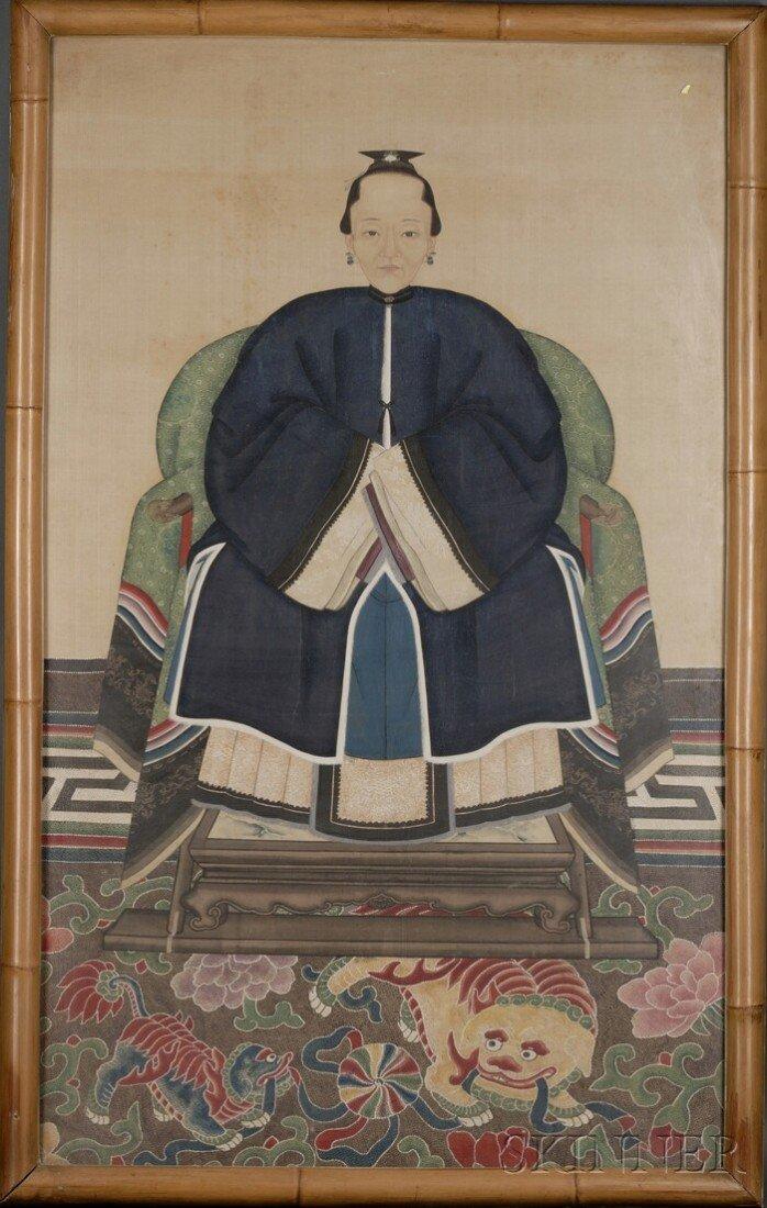 436: Ancestor Portrait, China, late 19th century, depic