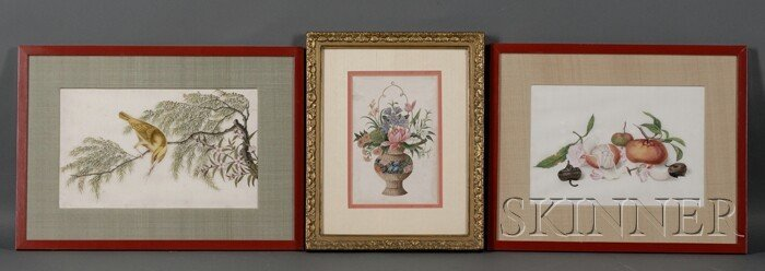 438: Three Paintings, Chinese export, watercolor on pit
