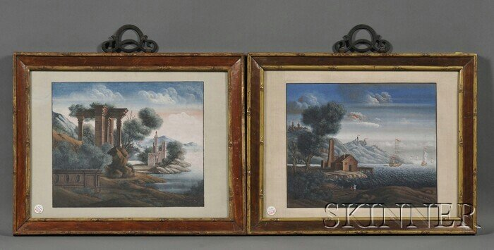 440: Pair of Chinese Export Paintings, 18th century, Eu