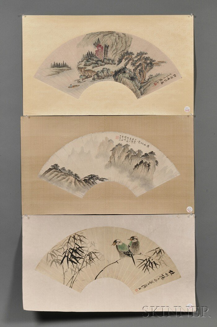 443: Three Fan Paintings, China, ink and light colors,