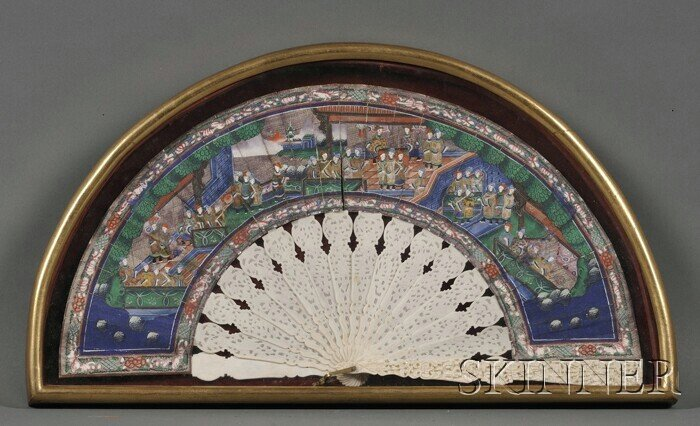 444: Painted Fan, Chinese export, late 19th century, iv