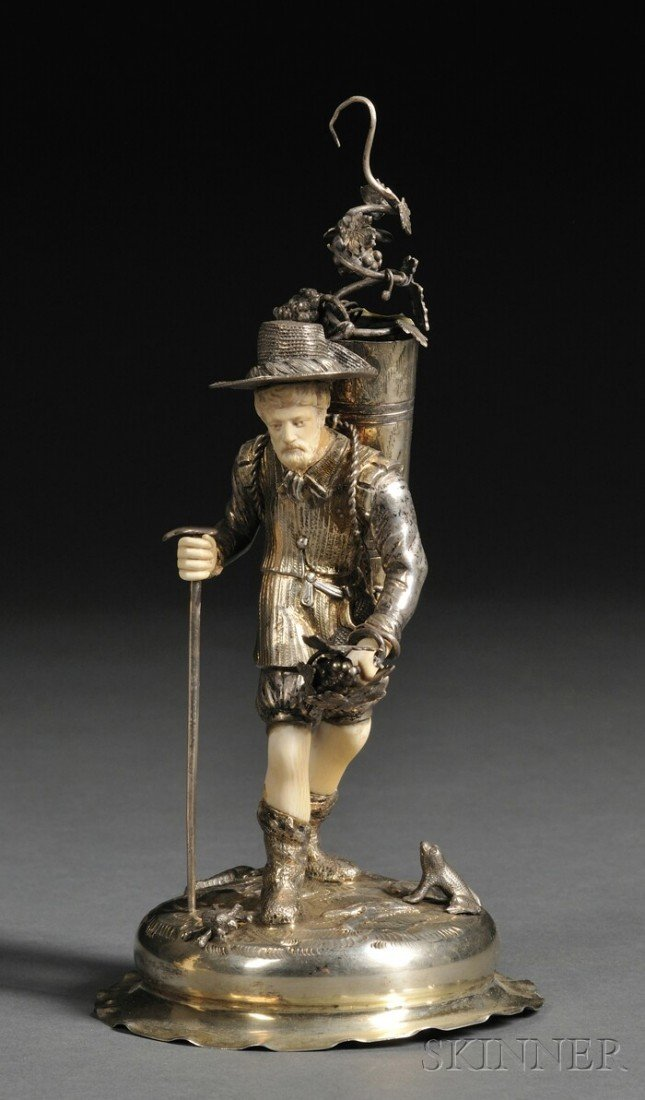 6: German Goldwashed Silver and Ivory-mounted Figure of