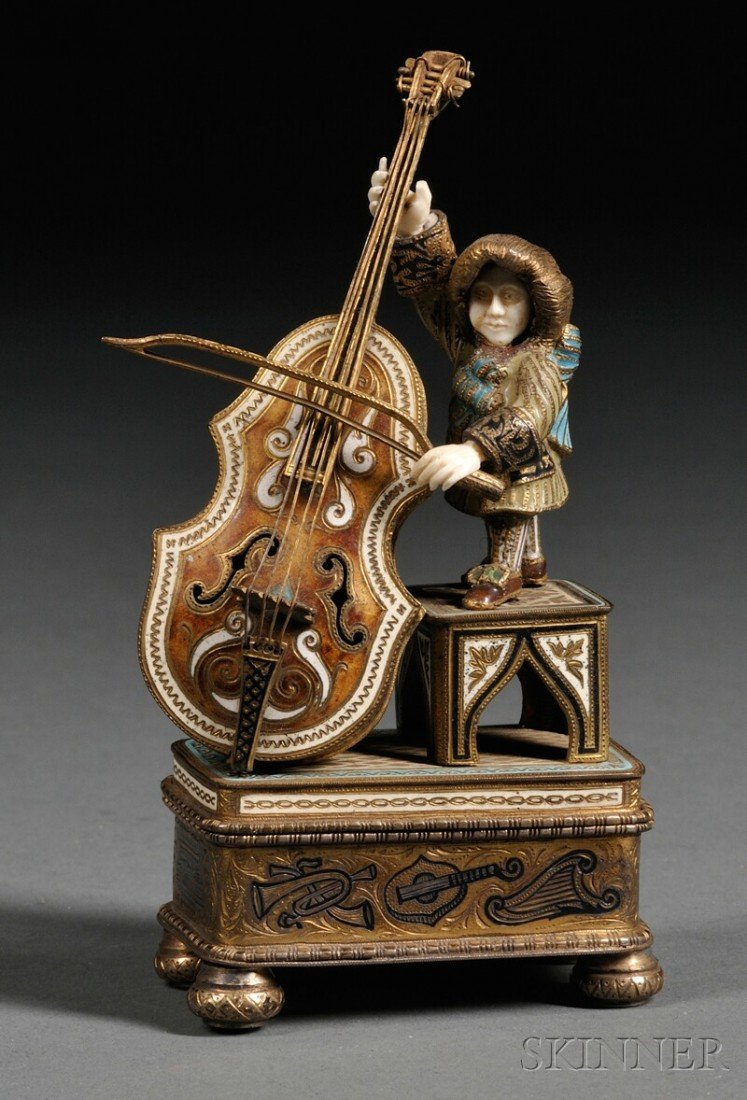 6A: Continental Enameled .900 Silver and Bone Musician-