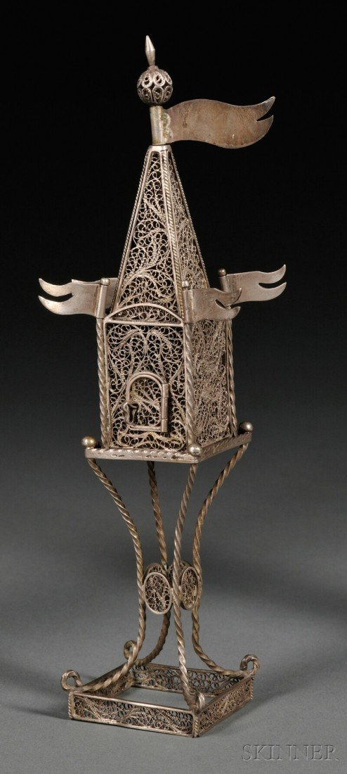 14: Continental Silver Filigree Tower-form Besamim Box