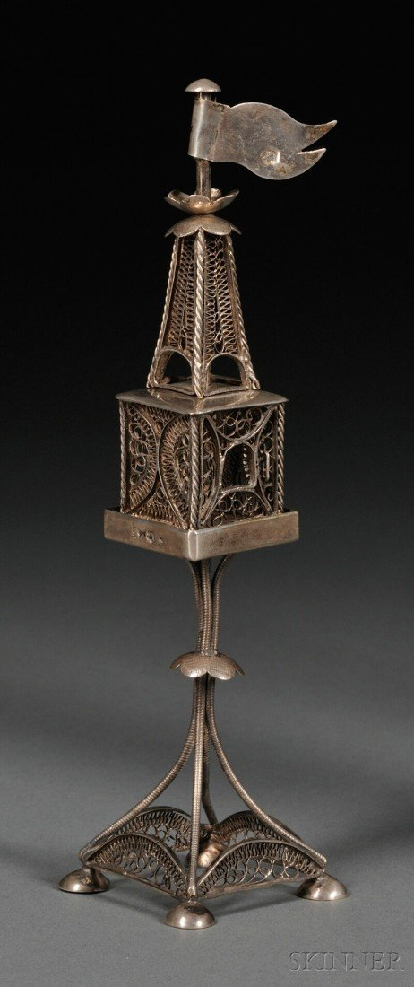 19: Austro-Hungarian .800 Silver Filigree Tower-form Be