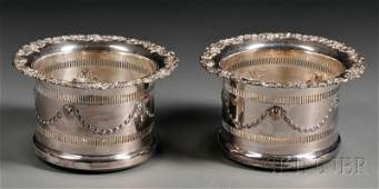174: Pair of Victorian Silver Plate Wine Coasters, mid