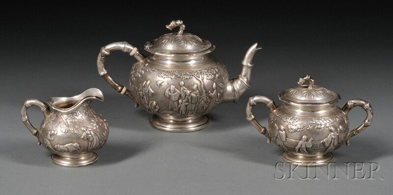 206A: Three Piece Chinese Silver Tea Set, late 19th cen