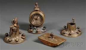 1229 Four Piece Bronze Pixie Desk Set England late
