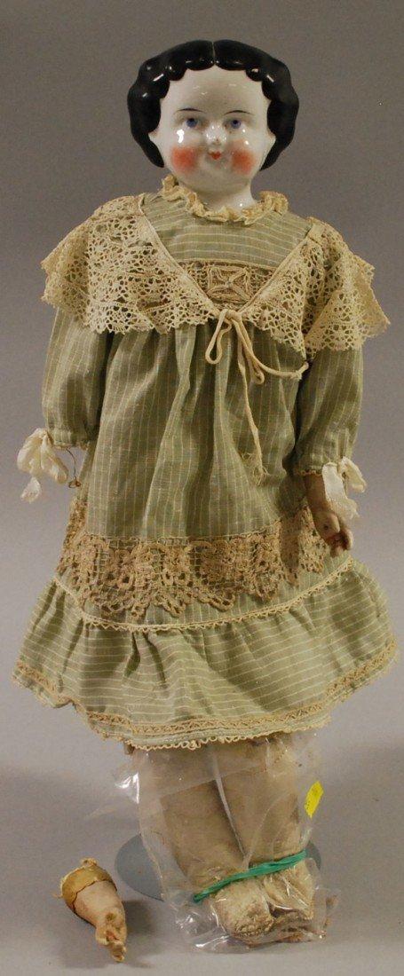 4: 1860s China Head Doll, kid body, ht. 18 in.