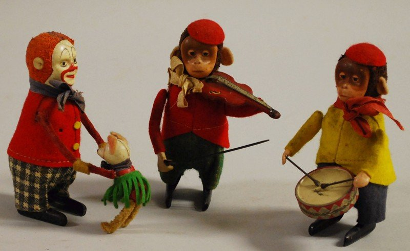 7: Three Schuco Wind-up Toys, Germany, two monkeys and